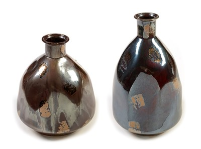 Lot 1104a-Two continental conical luster vases