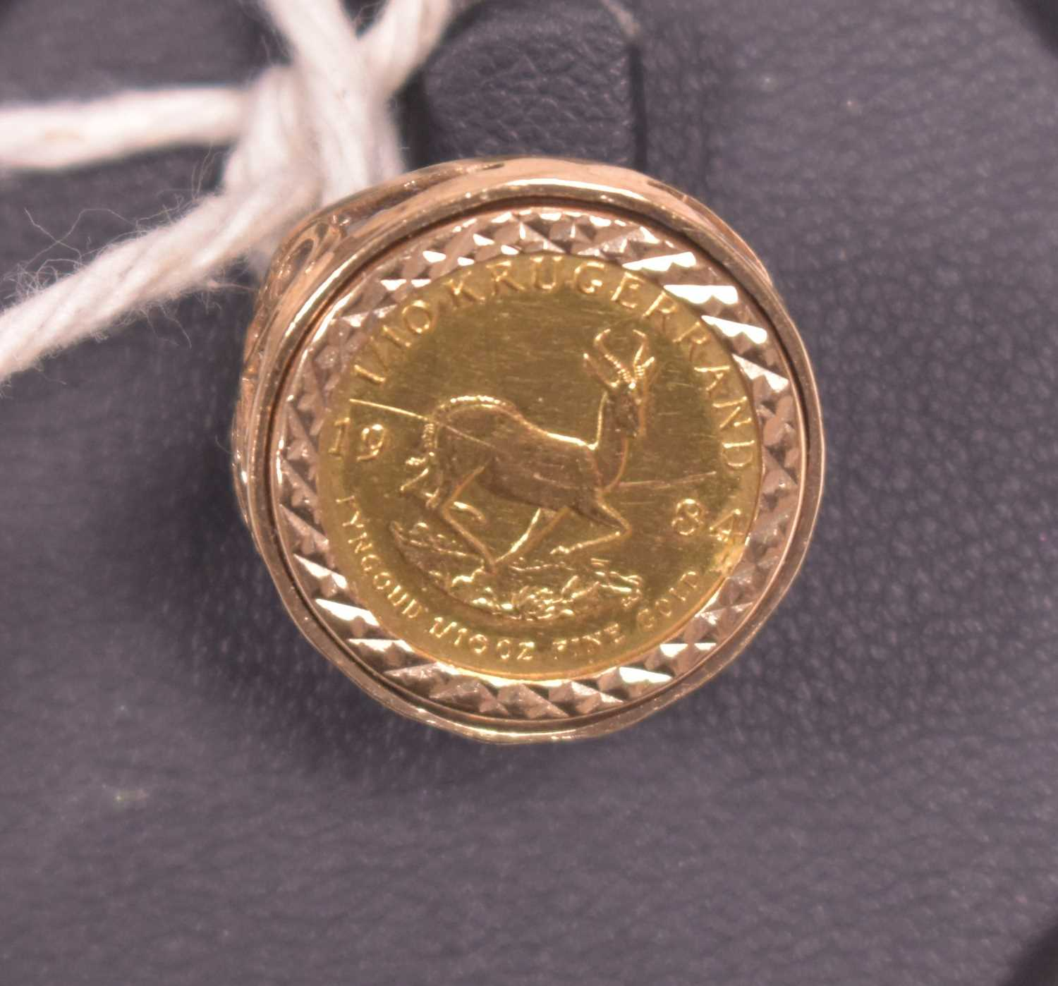 Lot 10-1/10 Krugerrand coin ring