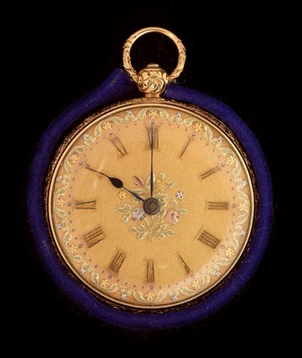 Lot 30-18k gold lady's pocket watch