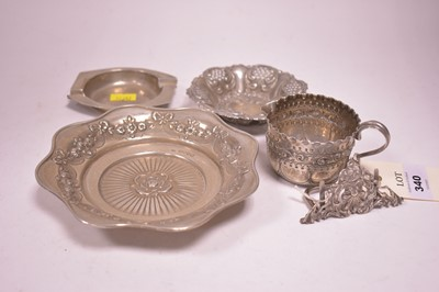 Lot 340-Two silver dishes, an ash tray, a menu stand and a jug