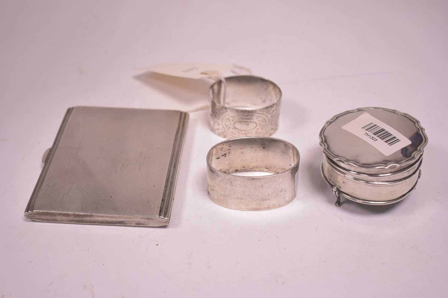 Lot 307-Silver cigarette case and other items