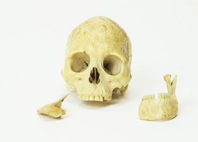 Lot 817 - A rare carved bone skull