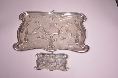 Lot 300-Two silver trays