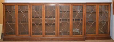 Lot 546 - 20th Century oak breakfront bookcase