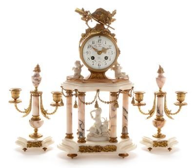 Lot 666-French gilt metal and alabaster clock garniture