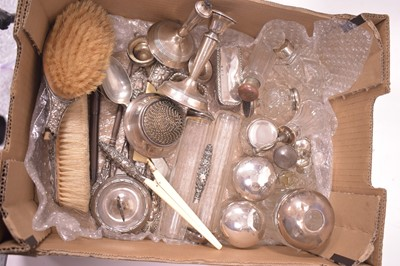 Lot 334-Silver mounted dressing table pots and other items