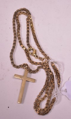 Lot 21 - Gold crucifix pendant and chain