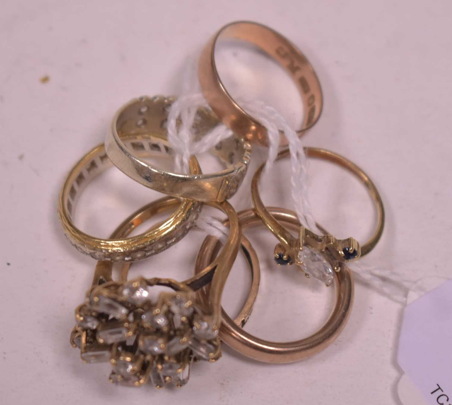 Lot 20-Seven gold rings