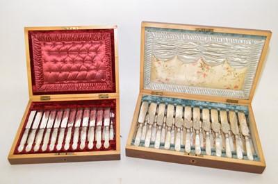 Lot 361 - Twelve dessert knives and forks; twelve fish knives and forks.