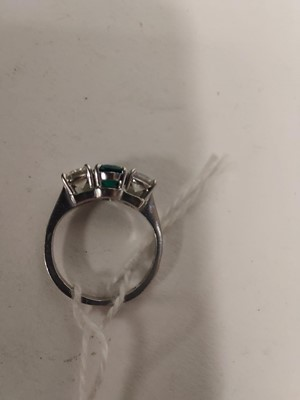 Lot 41-Emerald and diamond ring