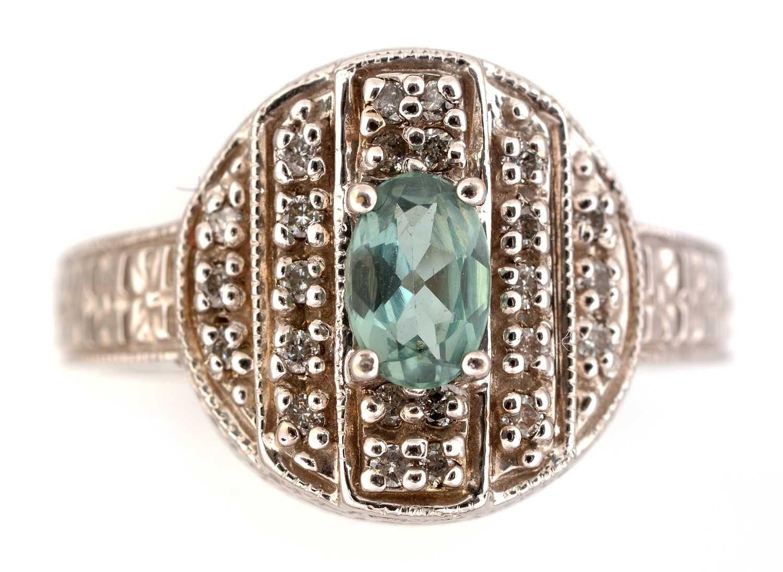 Lot 45-Chrysoberyl and diamond ring