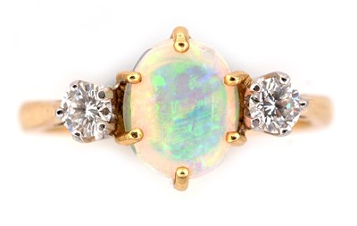 Lot 46-Opal and diamond ring