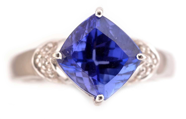 Lot 53-Tanzanite and diamond ring