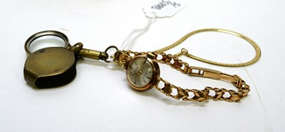Lot 277A - A gold cocktail watch and other items.