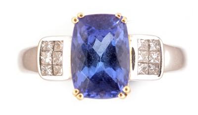 Lot 55-Tanzanite and diamond ring