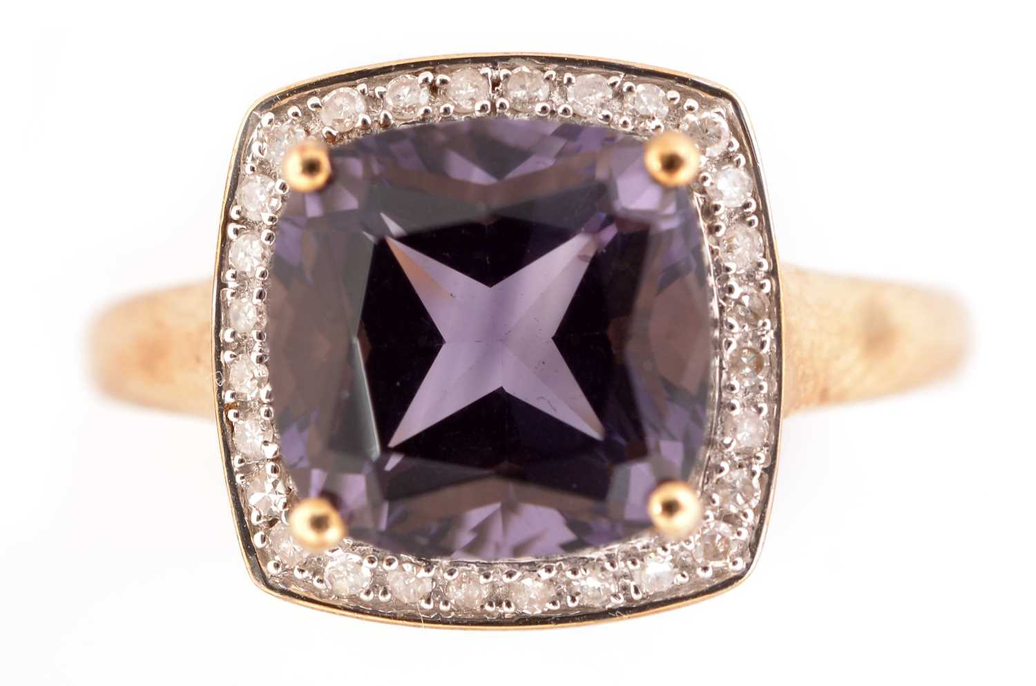 Lot 56-Amethyst and diamond cluster ring