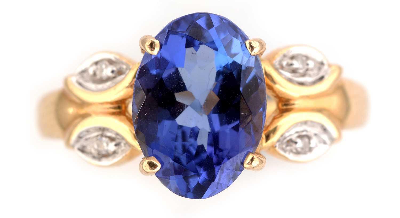 Lot 57-Tanzanite and diamond ring