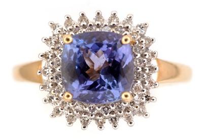 Lot 58-Tanzanite and diamond ring