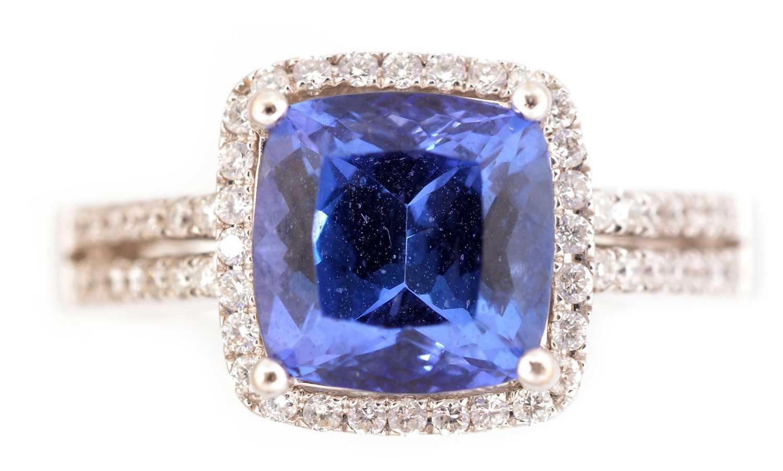 Lot 59-Tanzanite and diamond ring