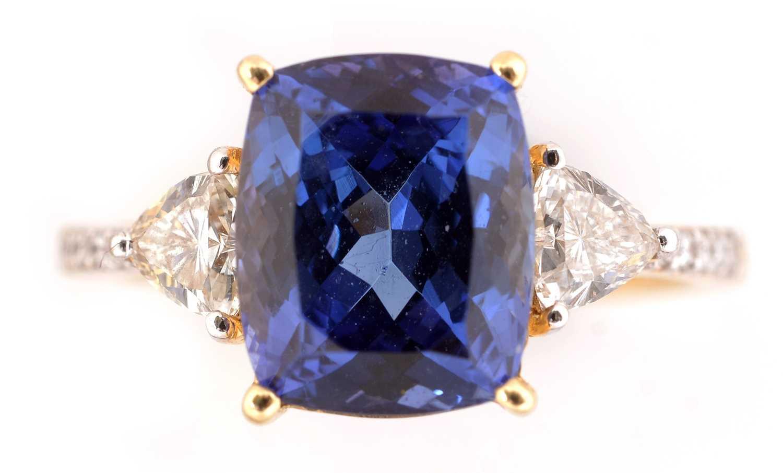 Lot 62-Tanzanite and diamond ring