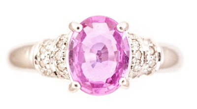 Lot 74-Pink sapphire and diamond ring