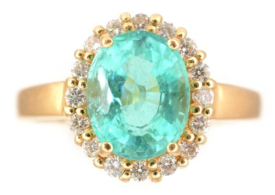 Lot 78-Apatite and diamond cluster ring