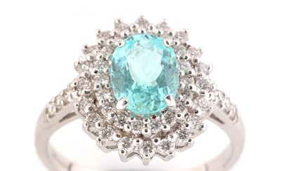 Lot 81-Apatite and diamond cluster ring