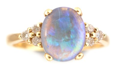 Lot 83-Opal and diamond ring