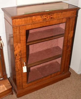 Lot 679 - Victorian walnut and inlaid pier cabinet