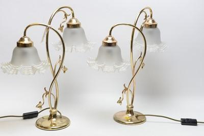 Lot 398 - A pair of Art Nouveau style table lamps.