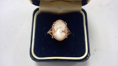Lot 12-Edwardian brooch, cameo ring and CZ ring