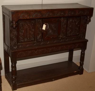 Lot 701 - Victorian oak carved court cupboard
