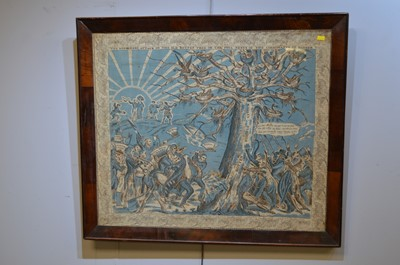 Lot 571 - A propaganda printed cloth panel in mahogany frame.