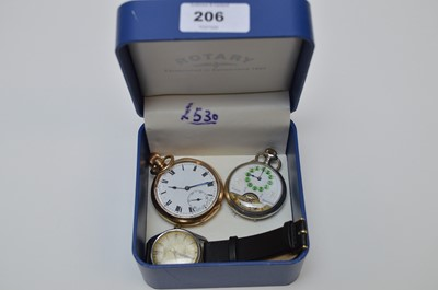 Lot 206 - Pocket watches and a wrist watch