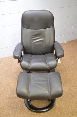 Lot 529 - Ekornes 'Stressless' reclining armchair and footstool