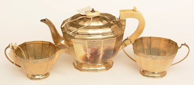 Lot 139 - Three piece silver tea service