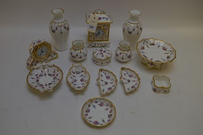 Lot 335 - Royal Crown Derby 'Royal Antoinette' pattern clocks, vases and dishes.