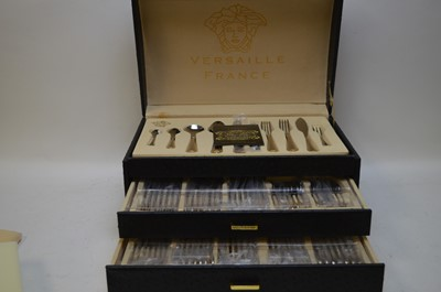 Lot 350 - Versaille france stainless steel and gold plated cutlery set.
