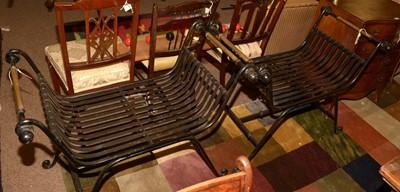 Lot 590 - Pair of 20th Century wrought iron Savonarola type chairs