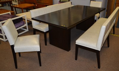 Lot 503 - Wychwood Design table & benches; & La Fibule chairs for an early project by Fiona Barratt Interiors
