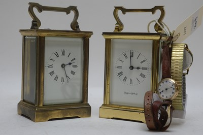 Lot 209 - Carriage clocks and wrist watches including 9ct gold watch