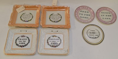 Lot 375 - Seven 19th C Sunderland wall plaques.