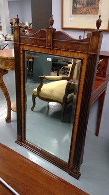 Lot 647 - A 20th Century mahogany and satinwood mirror,...
