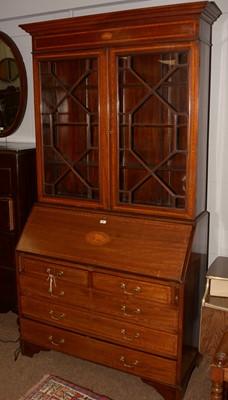 Lot 687 - 20th Century George III style bureau bookcase