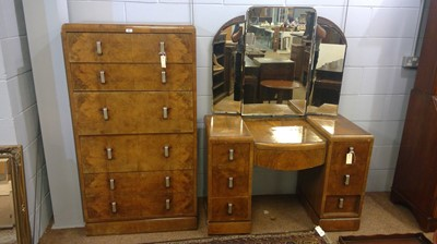 Lot 553 - 1930's chest of drawers and dressing table.