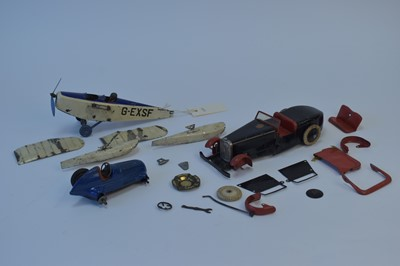 Lot 1101-Meccano No 1 car, Meccano No 0 plane and Schuco Mercedes.