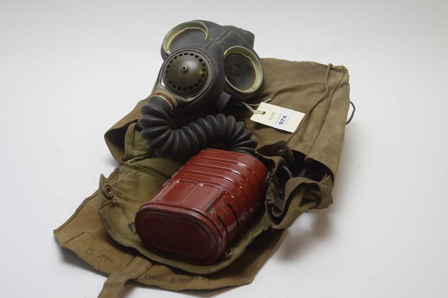 Lot 974-A WWII  1940s gas mask with original carry bag