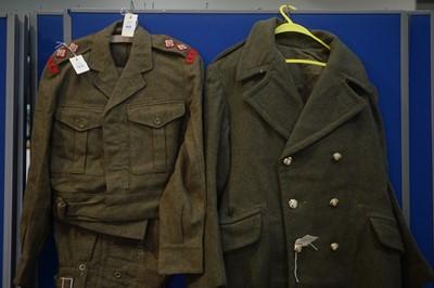Lot 968-World War II style Battle Dress and greatcoat