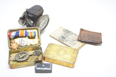 Lot 477 - Three WWI medals; and other items of militaria.