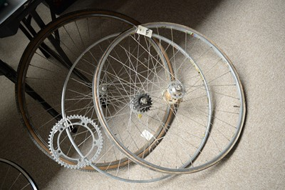 Lot 723A - Pair of bicycle wheels, and another wheel, and a 50 tooth chainring.